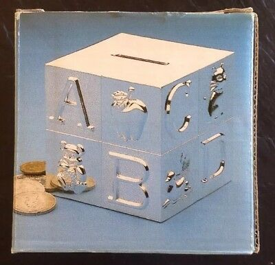 Fine Silver Plate On Zinc Babies Block Money Box New Boxed Free Postage