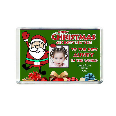 Christmas fridge magnet personalised with text and photo unique gift idea