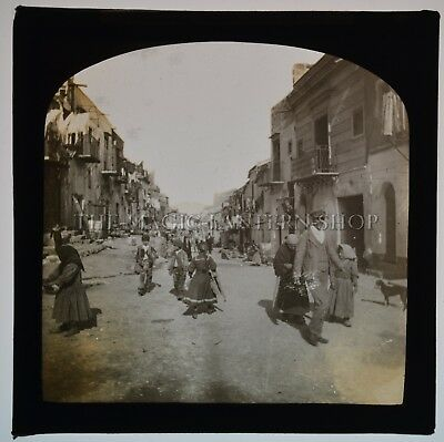 Palermo Sicily / Original Glass Magic Lantern Slide Photograph