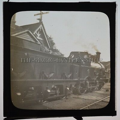 Steam Engine Train / Original Glass Magic Lantern Slide Photograph / Edwardian