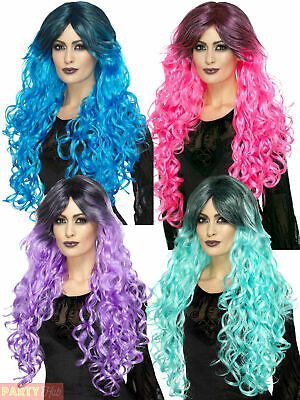 Ladies Gothic Glamour Long Wavy Wig Witch Vampire Halloween Fancy Dress Costume