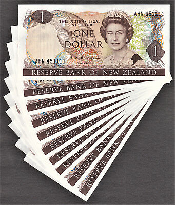 New Zealand 10 Consecutive $1 ND (1985-89) S.T Russell Pick-169b GEM UNC