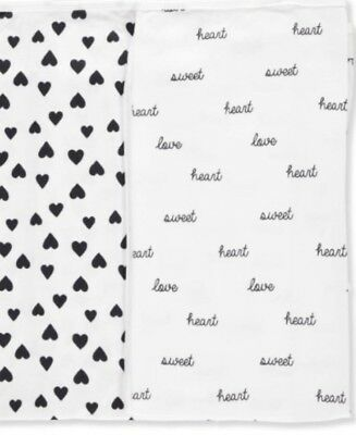NWT - Carter's Baby Unisex Black/White 2-Pack Cotton Swaddle Blankets - MSRP $24