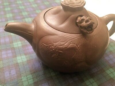 Chinese Yixing Brown Clay Teapot w/Moving Dragon Head -Museum Company-NEW!