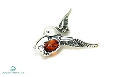 NATURAL BALTIC AMBER STERLING SILVER 925 BROOCH Bird Certified