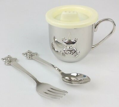 Things Remembered Baby Silver Bear Feeding Set NIB Fork Spoon Cup