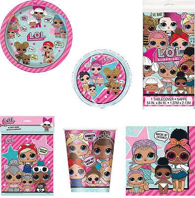 LOL Surprise Dolls Birthday Party Plates,Cups Napkin,TableCover, latex Balloons