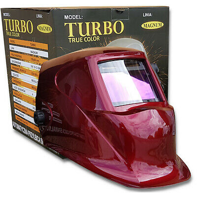 Magnum Turbo True Color Red Auto Darkening Welding Helmet Mask Grinding