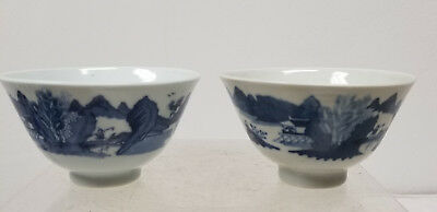 Antique Vintage Pair of Japanese Arita Underglaze Blue and White Bowls Cups Sign