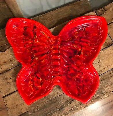VINTAGE Ceramic Butterfly Ashtray, Psychedelic, Serving Dish, Mid Century Modern