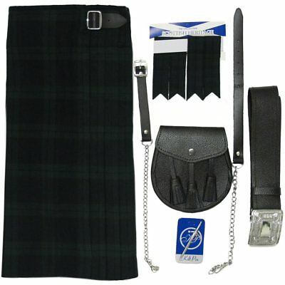 Fünfteiliges Kilt-Set Black Watch mit Sporran, Nadel, Strumpfband - UK42 (107cm)
