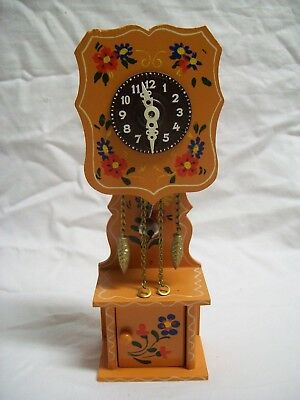 Mini Pendulum Wind-Up Grandfather Clock Hand Carved/Painted Made in Germany Mint
