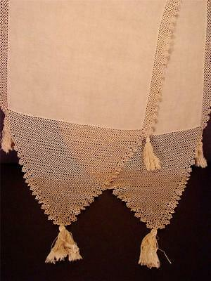 Exquisite Antique Victorian Tatted Ecru Linen Piano Scarf Table Runner Tassels
