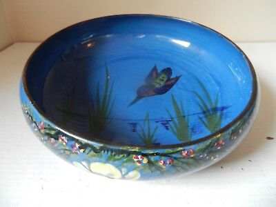 Longpark Devon / Torquay Ware Pottery Bowl / Blue / Kingfisher