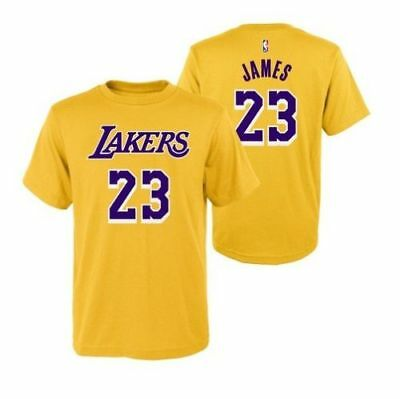 12b391a3b289 Youth Los Angeles Lakers LeBron James Yellow Name And Number Jersey T-Shirt