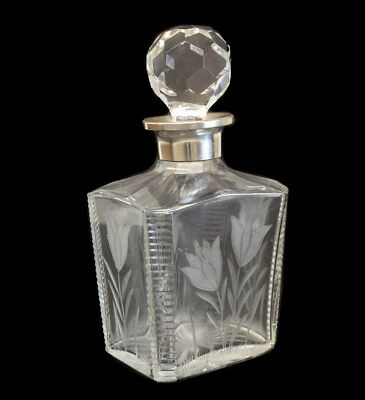 Stunning Crystal and Silverplate Collar Decanter with carved and etched floral