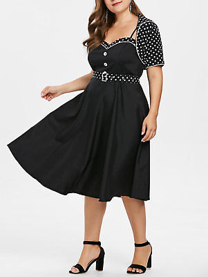 Plus Size Vintage Polka Dot 50s Rockabilly Swing Pinup Housewife