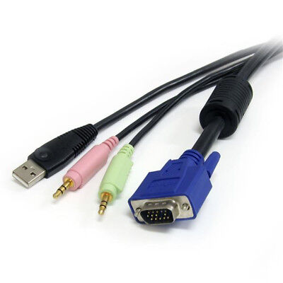 StarTech.com 6 ft 4-in-1 USB VGA KVM Switch Cable with Audio and Microphone