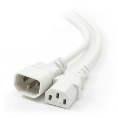 2m IEC C13 to IEC C14 Computer Power Extension Cord  Male to FemaleWhite ALOGIC