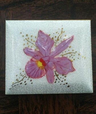 Vintage Marhill enamel pink Orchid powder compact with pouch.