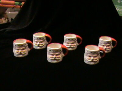 Vintage SANTA CLAUS MINIATURE CHRISTMAS MUGS CUPS ~ Lot of 6 ~ JAPAN