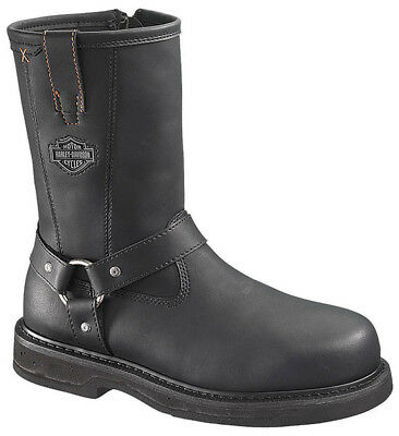"Harley-Davidson Mens Bill 9.5"" Black Leather Steel Toe Motorcycle Boots D95328"