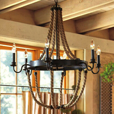 Country Vintage Rope LED Candle Chandelier Wrought Iron Large Pendant 6 Lights