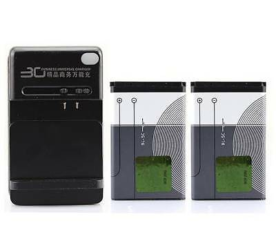 For Nokia 6555 6600 6630 6680 6820 6822 7600 2PCS 1020mAh BL-5C Battery Charger