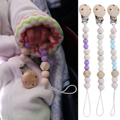 Feeding Nipple Pacify Wood Beads Teether Holder Baby Pacifier Clip Long Chain