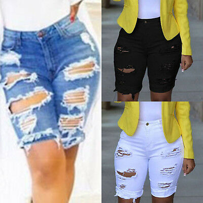 Ladies Vintage Ripped Womens High Waisted Denim Shorts Jeans Hot Pants Size 8-18