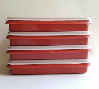 VINTAGE TUPPERWARE Deli Keeper Set of 4 Paprika Red Fruit Cheese Cold Cuts 816