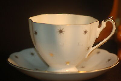 Queen Anne  Blue and Gold Cup and Saucer