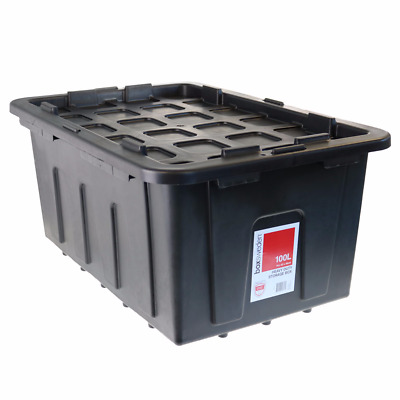 Black Heavy Duty Large Plastic Storage Tubs 100L Crate Containers Tub with Lids