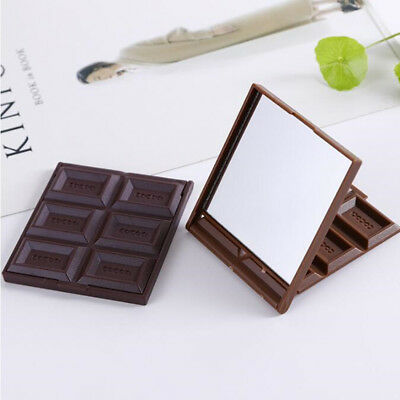 Hot Foldable Mini Makeup Mirror Chocolate Cookie Shaped Square Pocket Mirror