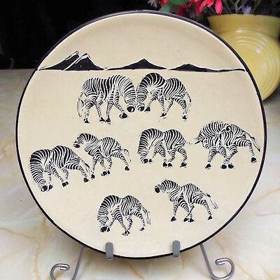 Vintage Kenyan Hand Carved Soapstone Plate Feat. Zebra Herd and Mountains