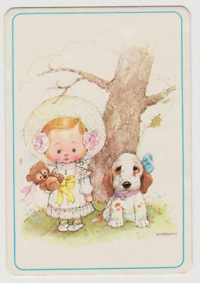 1986 COLLECTABLE POCKET CALENDAR ~ CUTE LITTLE GIRL AND DOG - Artist GIORDANO