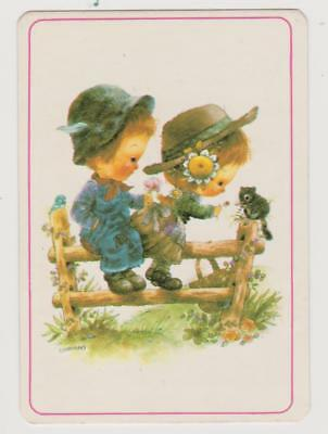 1986 COLLECTABLE POCKET CALENDAR ~ CUTE BOY AND GIRL ON FENCE - Artist GIORDANO