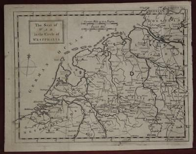 Netherlands Belgium Westphalia Germany 1757 Anonymous Antique Engraved Map