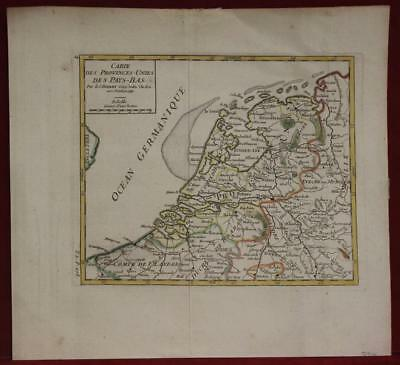 Netherlands Belgium 1748 Robert De Vaugondy Antique Original Copper Engraved Map