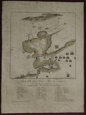 Toulon France 1770 Bouchard & Gravier Unusual Antique Copper Engraved City Map