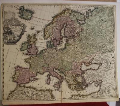 European Continent 1720 Johann Baptist Homann Antique Copper Engraved Map