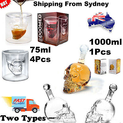 Crystal Skull Head Bottle Vodka Whiskey Shot Wine Glass Bar Party Drinking Cup G