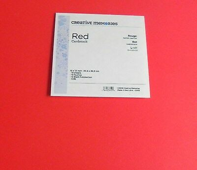CREATIVE MEMORIES 12x12 CARDSTOCK 10 SHEETS RED BNIP