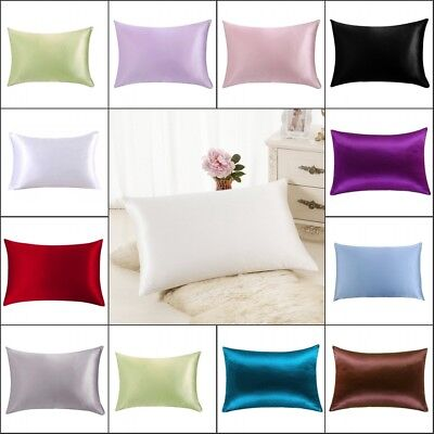 Queen Standard Soft Mulberry Pure Silk Pillowcase Covers Hair Beauty Colorful AU