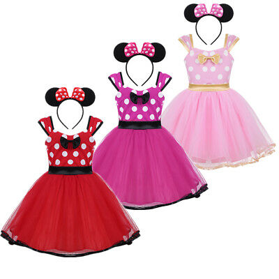 Toddler Baby Girls Minnie Mouse Dress Up Costume Party Cosplay Tutu Fancy Dress