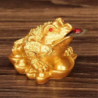 Feng Shui Lucky Money Gold Three Legs Gilded Frog Toad Ingot Enhance Fortune