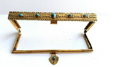 Elegant French vintage copper gold gilt Purse frame with 6 Turquoise stones