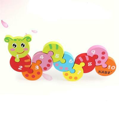 Creative Wooden Caterpillar Number Jigsaw Puzzle Children Pre-School Toy Game T