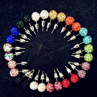 14Pairs/Pack Graceful Rhinestone Micro Disco Ball Crystal Stud Earrings Set Gift