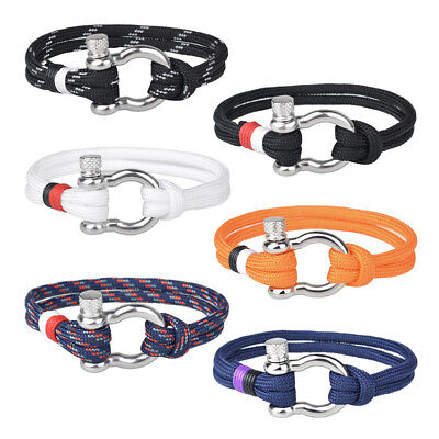 Men Women Paracord Rope&PU Wrapped U Shaped Stainless Steel Clasp Bracelet Gift